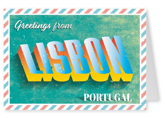 Retro postcard Libon, Portugal