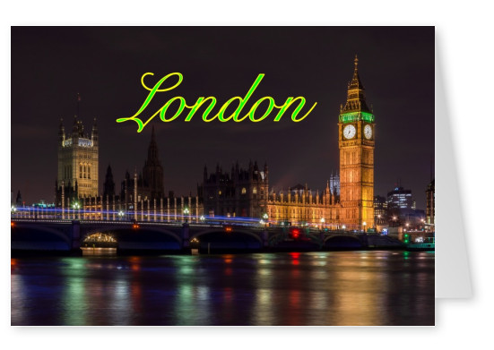 greetingcard with a nightshot of Buckingham Palace and BigBen