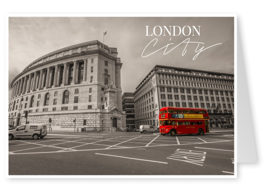Postcard with black and white photo with a red bus from london city