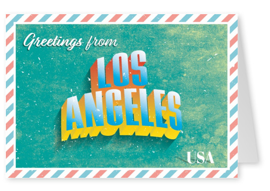 Retro postcard Los Angeles, USA