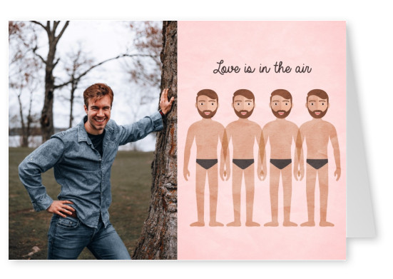Love is in the air card with men holding hands
