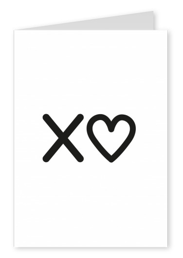 X♥ in blacke lettering on white background–mypostcard