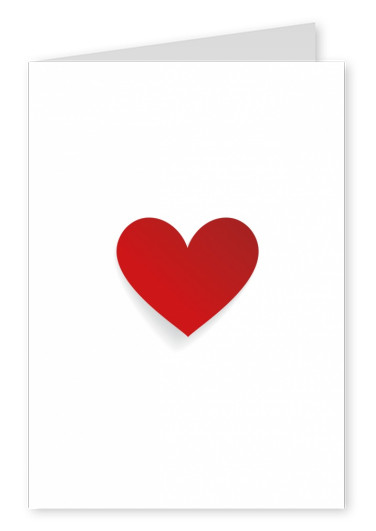 red heart on white backgrund postcard design