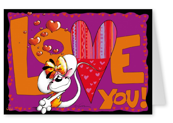 love you diddl mouse postcard