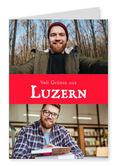 Lucerne greetings in swiss-german dialect red white