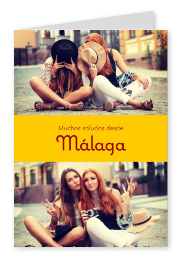 Málaga Spanish greetings in country-typical colouring & fonts