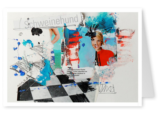 Collage by Belrost with woman's faces, colour splashes and other snippets