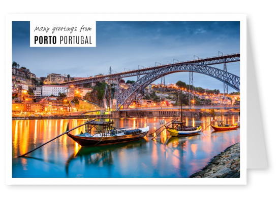 Greetings from porto withe a photo of fishing boats at night