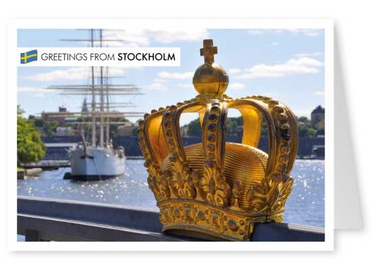 Stockholm skyline with golden crown on bridge