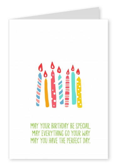 Card with font and birhtday candles