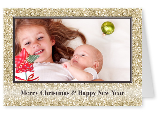 Merry Christmas with gold glitter frame