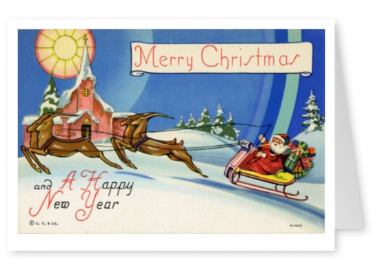 Curt Teich Ansichtkaart Archieven Collectie Merry Christmas_santa_and_his_reindeer