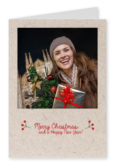 Merry Christmas Polaroid frame Christmas photo card