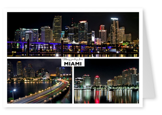 three photo of miami at night