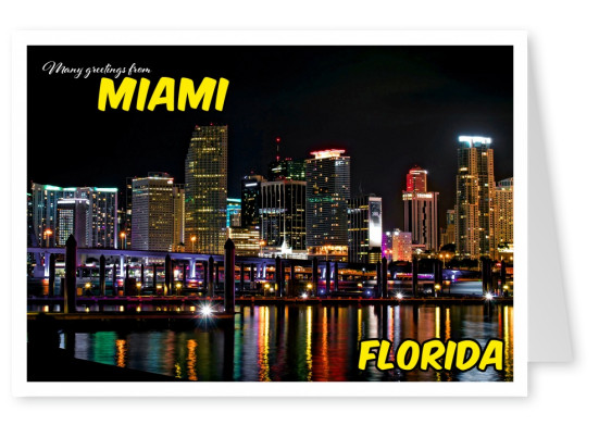 miami skyline postcard by night