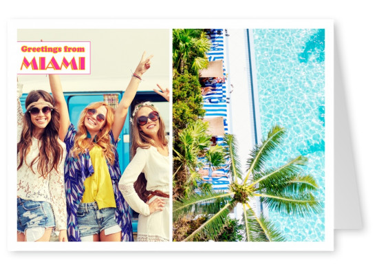 photocollage swimmingpool with palm trees and retro Miami vice lettering