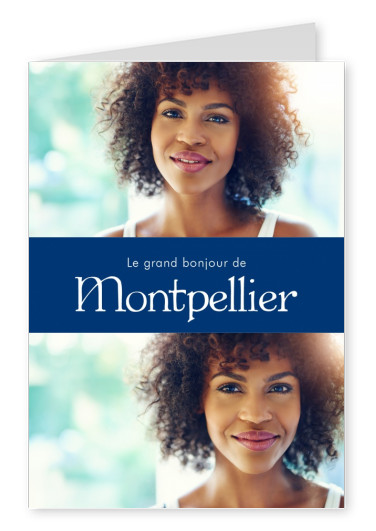 Montpellier greetings in French language blue white