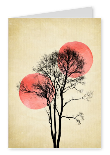 Kubistika 2 red moons with black tree branches