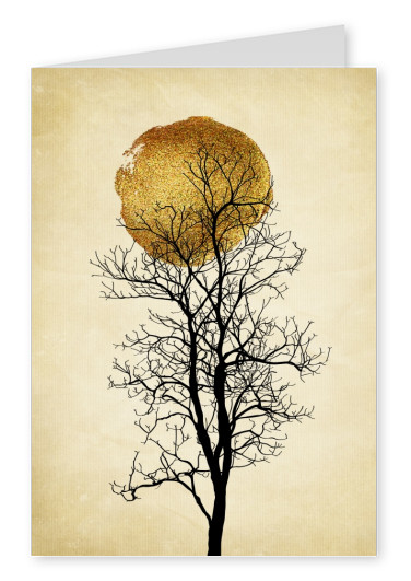 Kubistika black tree with golden moon
