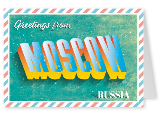 Retro postcard Moscow, Russia