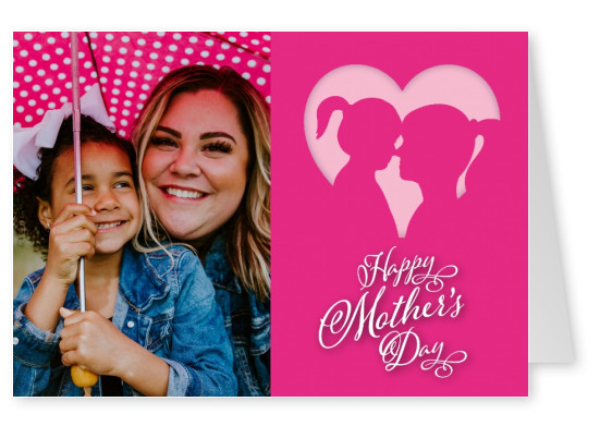 Happy Mother's Day pink graphic with mother and dauther's silhouette–mypostcard