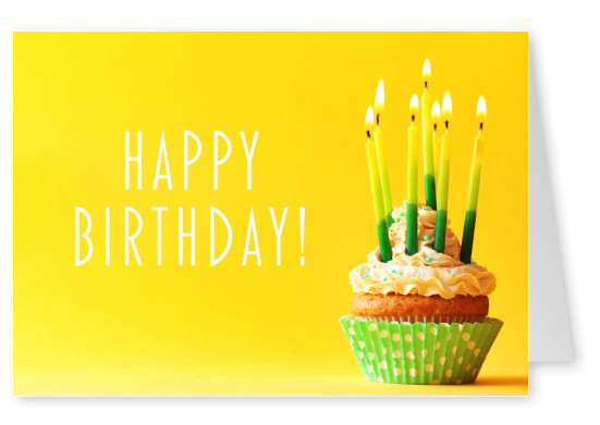 Something Sweet For You Yellow Birthday Card With Cupcake And Candles