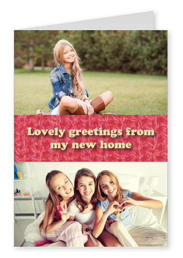 lovely greetings from my new home quote card