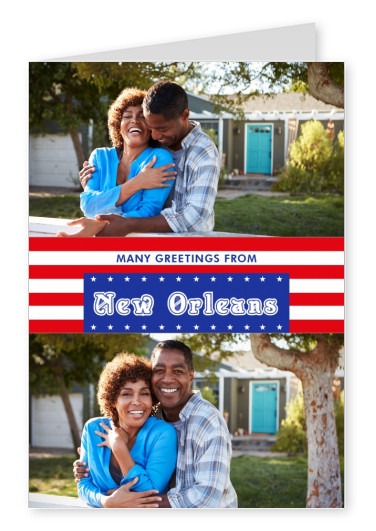 New Orleans greetings in US Flag design