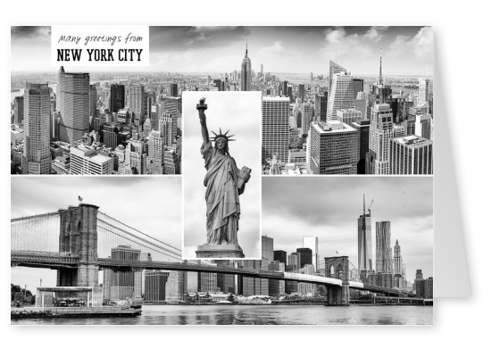 new york city postcard collage
