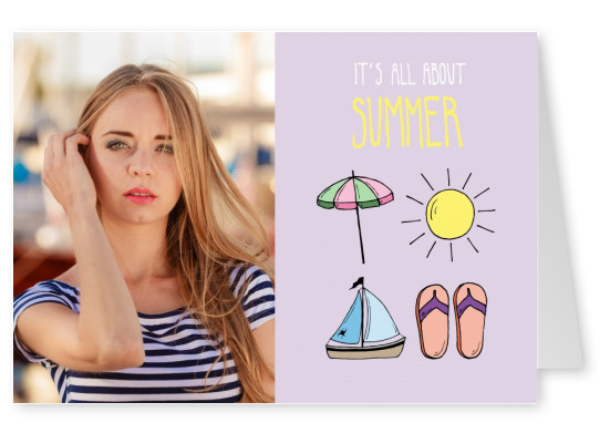 template with illustrated pictures from the summer on violet background