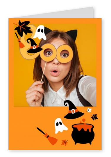orange card with halloween elements