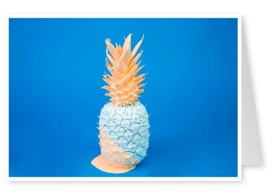 photo pastel pineapple on blue ground
