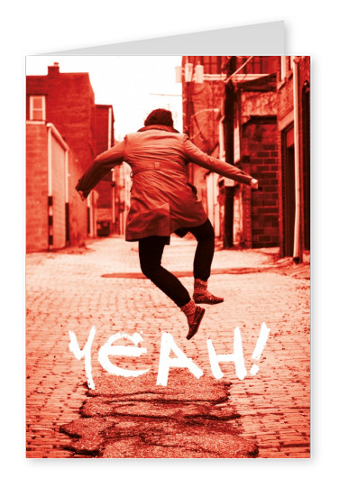 Photo of a jumping guy in the street in red