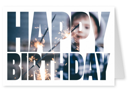 happy birthday  in bold lettering on white ground card