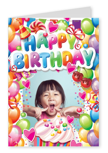 Happy Birthday-multicoloured graphic with hearts, balloons, cookies & confetti card