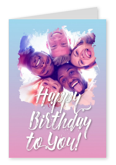 happy birthday white lettering on pink blue blurry background