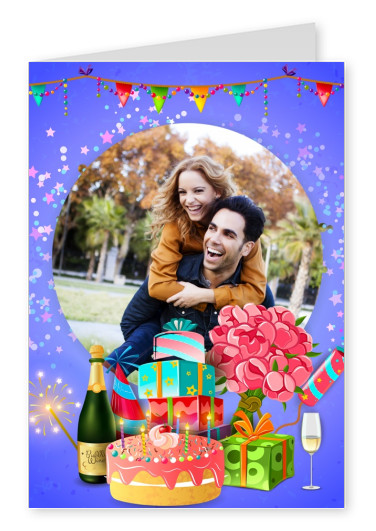Happy Birthday Party Graphic with champagne, sparklers, cake, gifts on lilac background