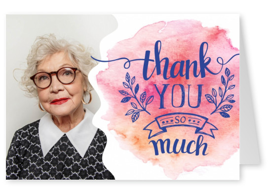 thank you so much in purple lettering on watercolour paper background