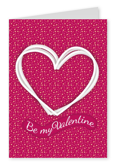 pink valentines day postcard motive be my valentines