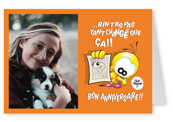 Le Piaf Cartoon Carte Bon Anniversaire