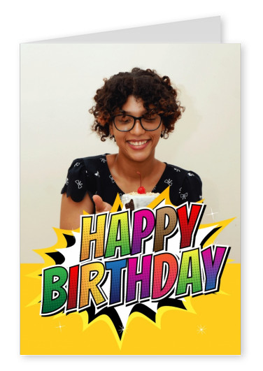 Happy Birthday in colorful pop art superhero styled lettering, yellow background
