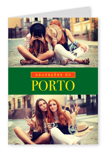 Porto greetings in Portuguese language green, red & yellow