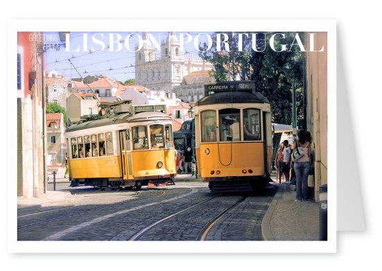 Photo of old, traditional tram in Lisbon