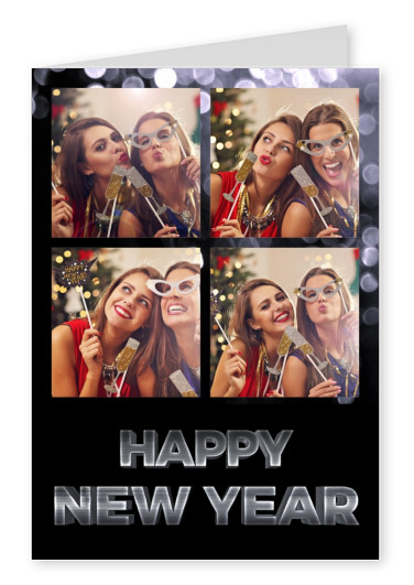 Costumizable New years greeting card with lettering in black and grey