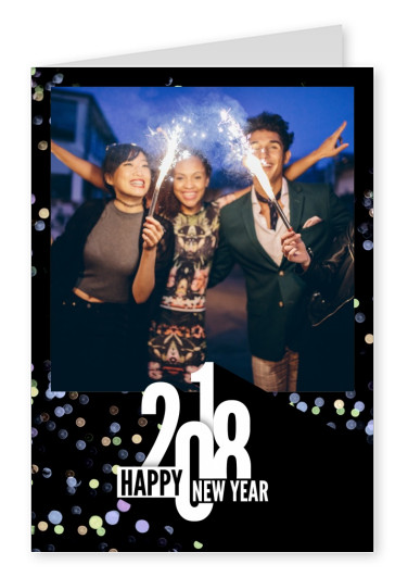 Costumizable New years greeting card with lettering and glitter