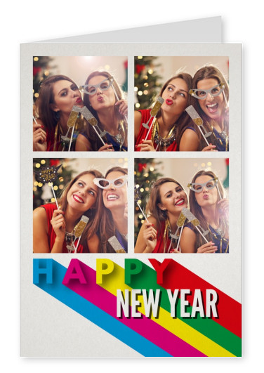 Costumizable New years greeting card with lettering in rainbow colors
