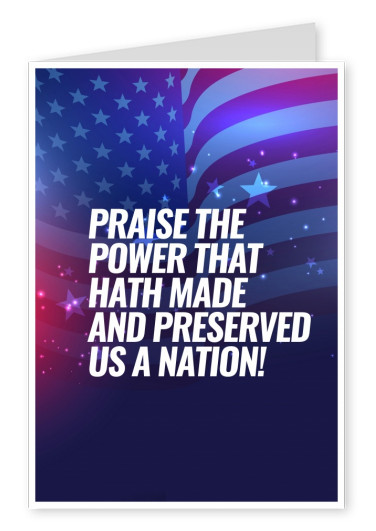 Greeting card with photo of the American flag with text