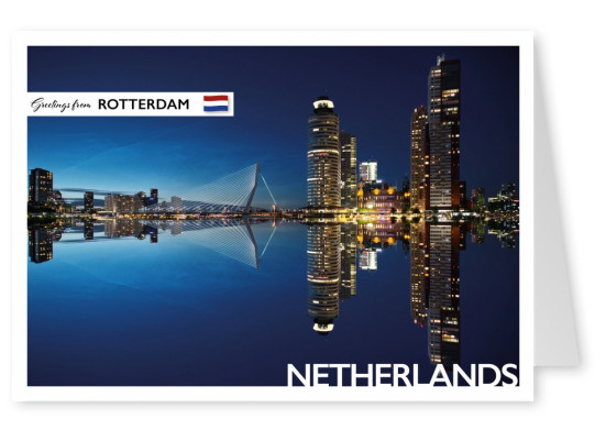 Foto of Rotterdam's Erasmus bridge by night–mypostcard