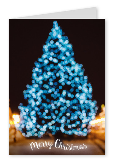Christmas greeting card with a photo of a blue christmas tree