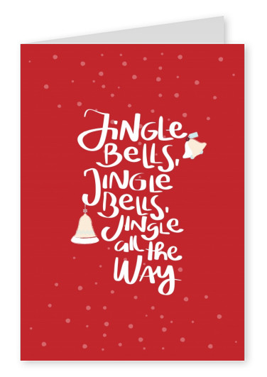 Red Jingle bells card with bells and snow